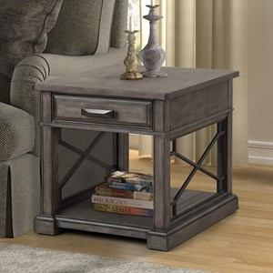 Transitional 1-Drawer End Table with Outlet and USB Ports