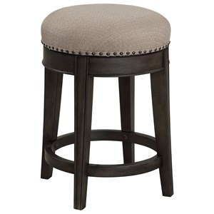 Transitional Swivel Stool with Nailhead Trim