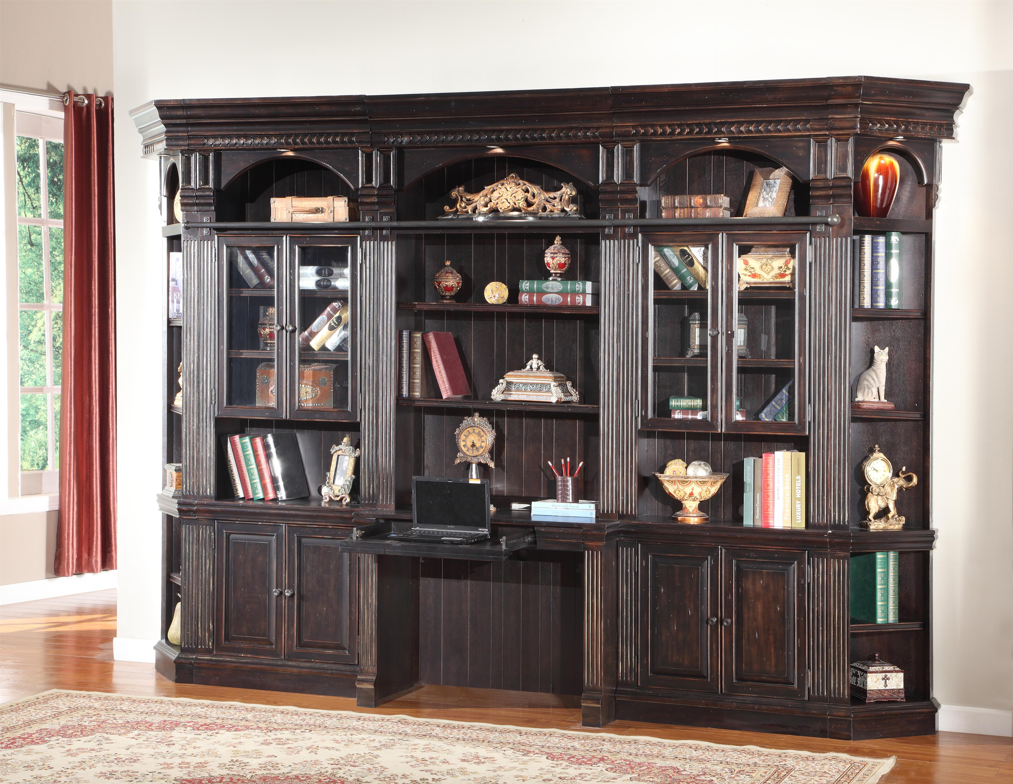 Parker House Venezia Six-Piece Library Wall with Built-in Desk - Item Number: VEN 460-2+2x440+2x450