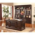 Parker House Venezia Double Pedestal Executive Desk with Leather Inset Desk Top - Shown with 32-Inch Bookcases and Library Ladder