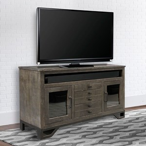 Transitional 63 Inch TV Console with Glass Doors