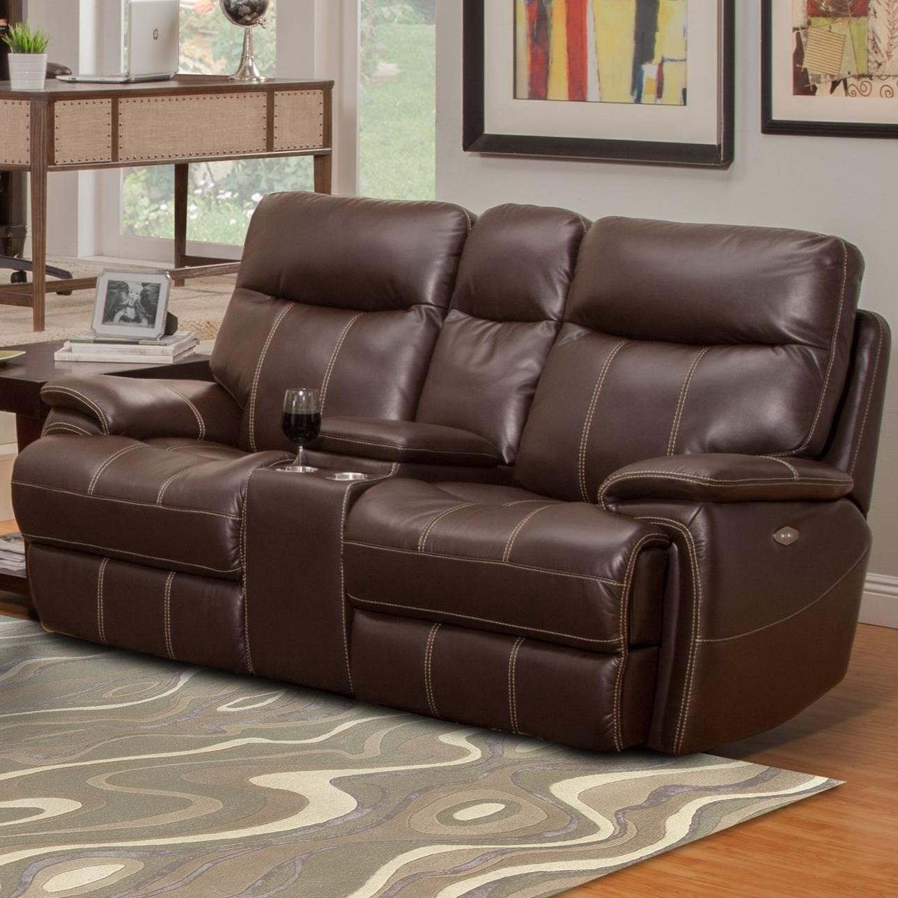 Parker living dylan dual recliner power console loveseat with cup holders sheely 39 s furniture Loveseat with cup holders