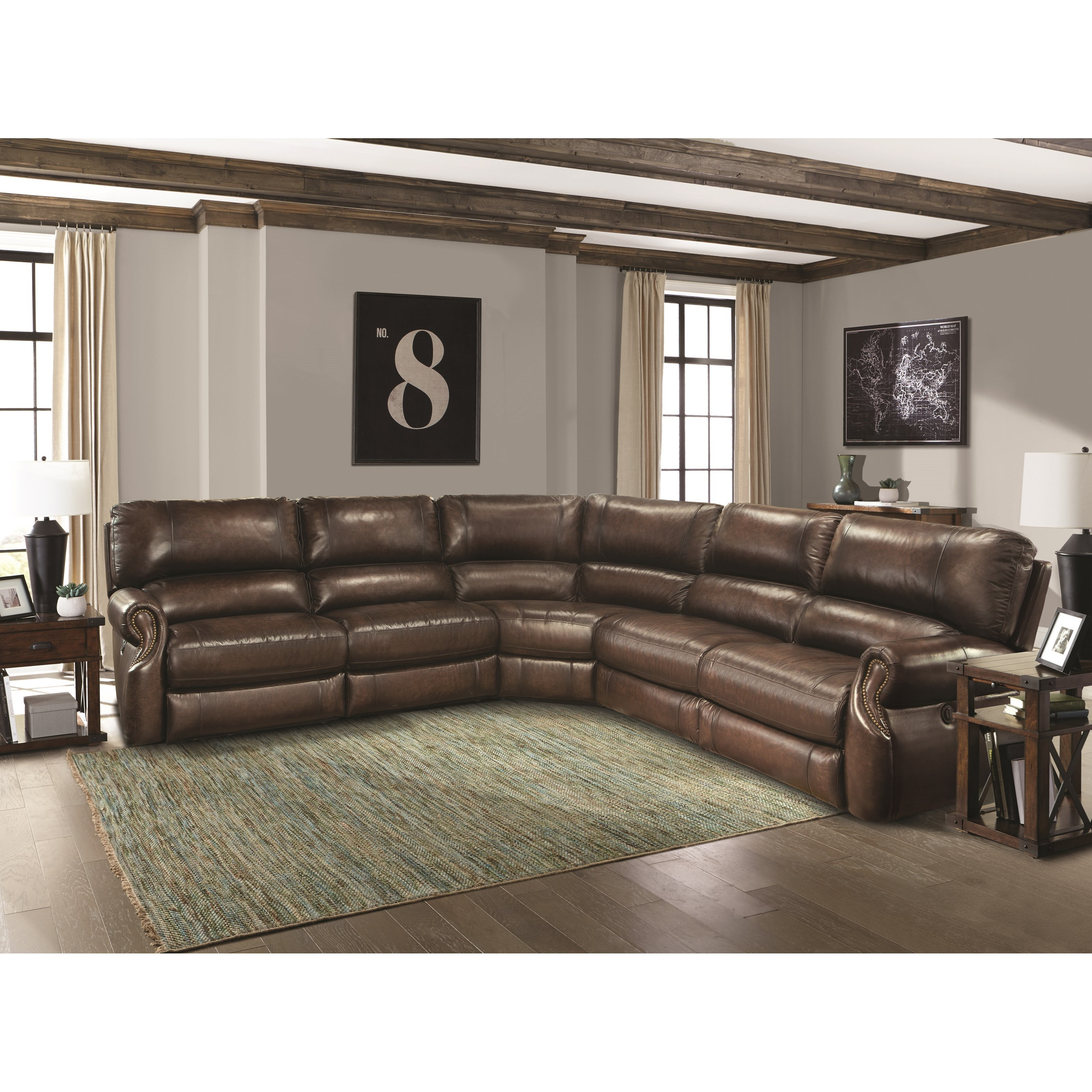 Parker Living Hawthorne Sectional Sofa - Item Number: MHAW-811LP+811RP+2x840+850-BR
