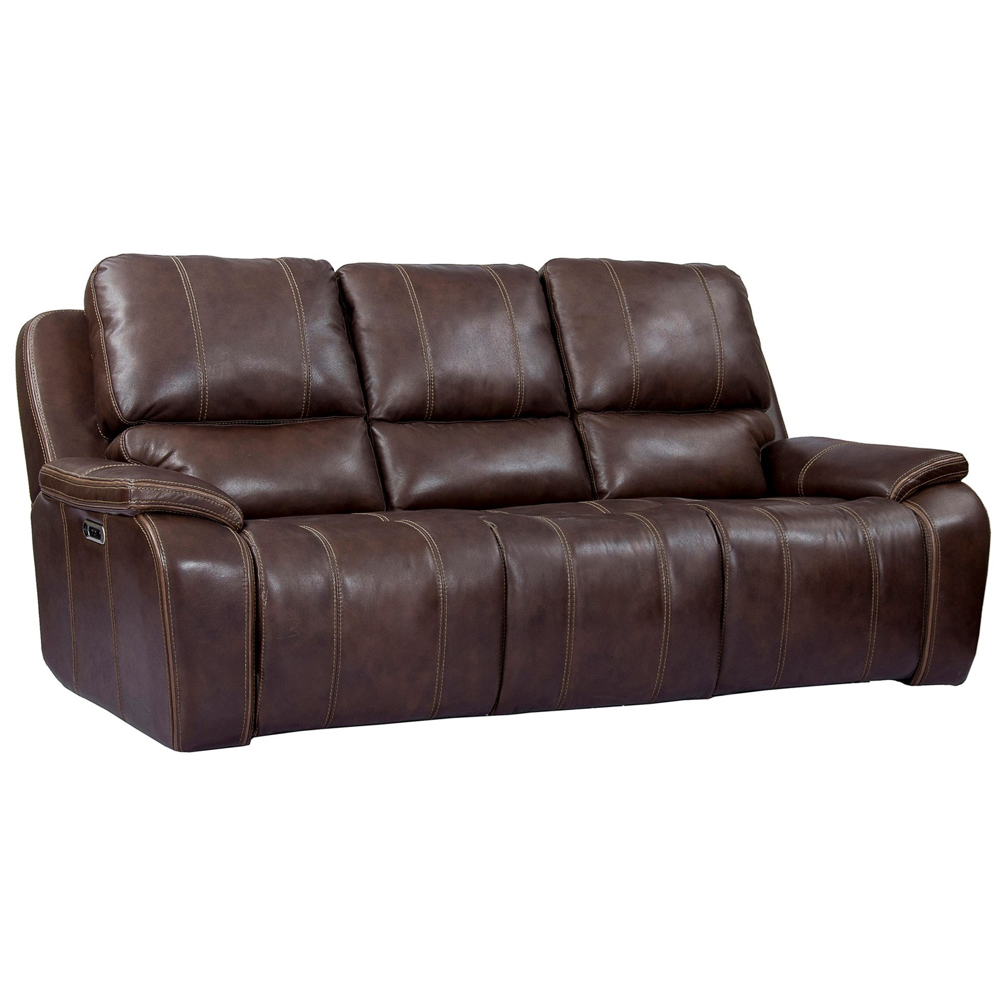 Leather Match Power Recliner Sofa