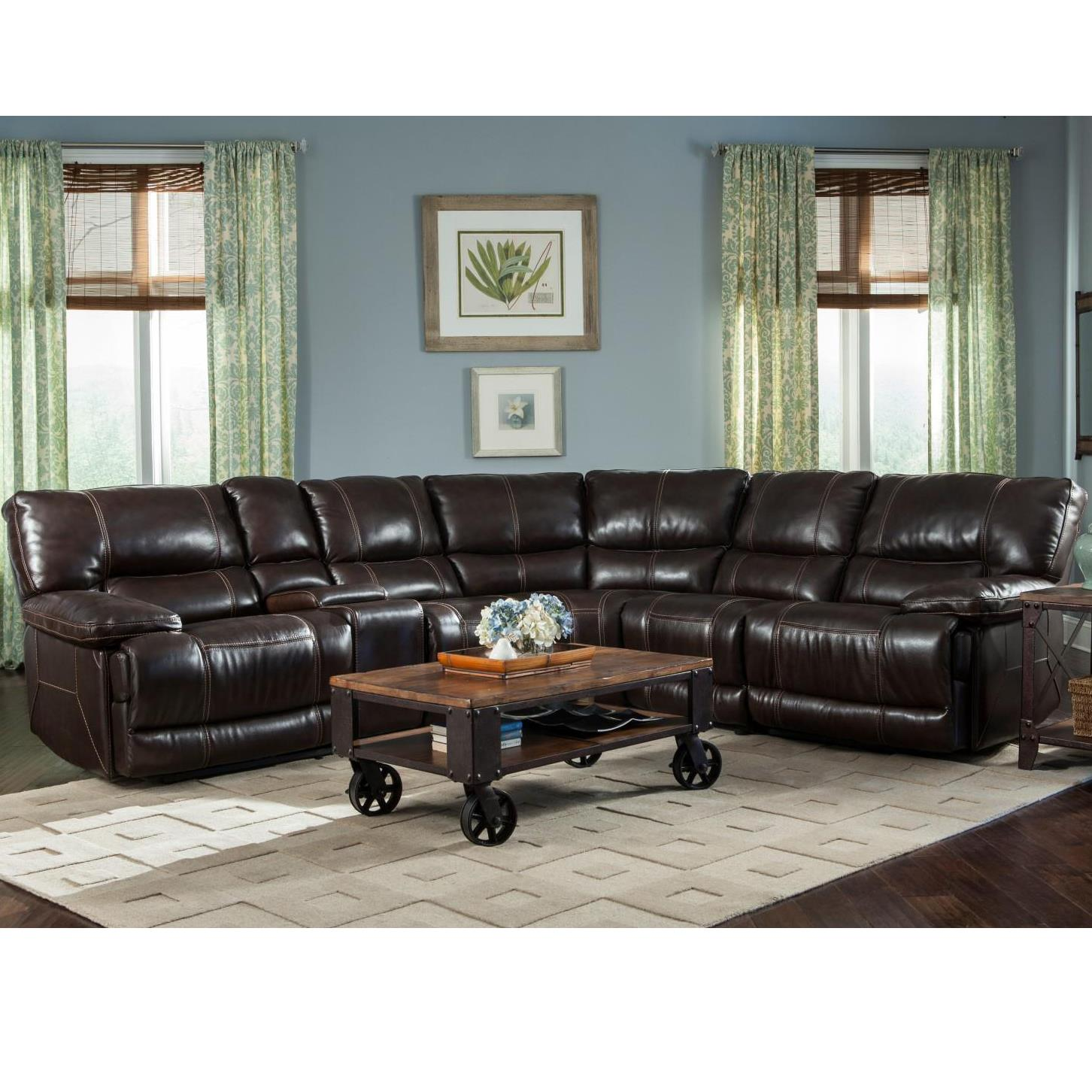 Parker Living Socrates Casual Sectional with Storage Console - Item Number: MS-811LP+860+810P+850+840+811RP-MI