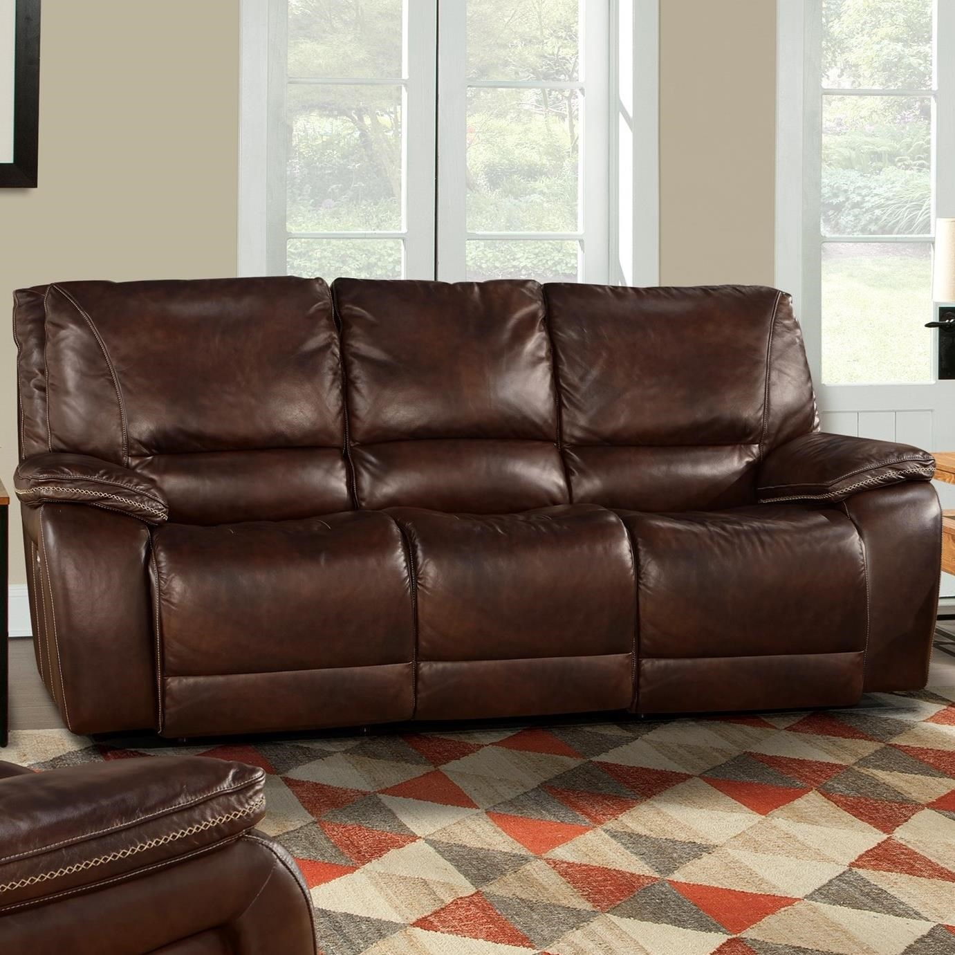 Leather Match Dual Power Reclining Sofa