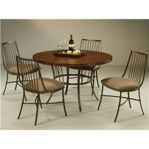 Pastel Minson Victoria 5 Piece Hammered Metal Table & Side Chair Set