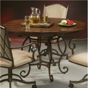 Pastel Minson Atrium Pedestal Table with Wood Top