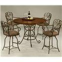 Pastel Minson Magnolia 5 Piece Round Hammered Metal Top Table & 26