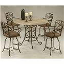 Pastel Minson Magnolia 5 Piece Round Travertine Top Table & 26
