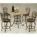 Pastel Minson Magnolia 5 Piece Table & Chair Set - Item Number: MA-520+860+4x225-AR-649