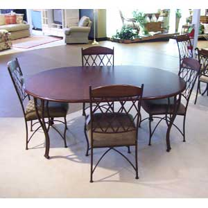 Oval Table and 4 Metal Side Chairs