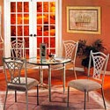 "Pastel Minson Waverly 42"" Round Glass Table and Four Metal Chairs - Item Number: WV510-4201+110x4-WV"