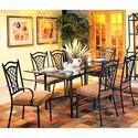 """Pastel Minson Waverly 72"""" Rectangular Glass Table and 6 Chairs - Item Number: WV512-4272+117x2+110x4-WV"""