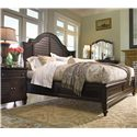 Universal Home California King Steel Magnolia Bed with Panel Headboard and Low Footboard  - Shown with drawer nightstand