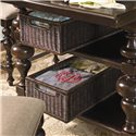 Paula Deen by Universal Paula Deen Home Counter Height Kitchen Gathering Table with Storage Baskets - Detail of basket drawers