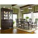 Universal Home Paula's Leg Table w/ 2 Ladder Back Dining Arm Chairs & 4 Dining Side Chairs - Shown with China Cabinet