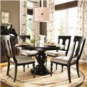 Paula Deen by Universal Paula Deen Home Round Dining Table w/ 4 Splat Back Chairs - Item Number: 932655-BASE+TAB+4x932632