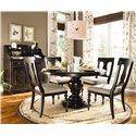 Paula Deen by Universal Paula Deen Home Round Dining Table w/ 4 Splat Back Dining Side Chairs - Shown with Low Country Sideboard and Hutch