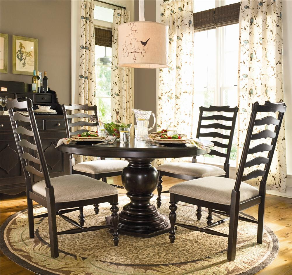 Cool Home Round Dining Table W 4 Ladder Back Side Chairs By Universal At Belfort Furniture Beutiful Home Inspiration Cosmmahrainfo