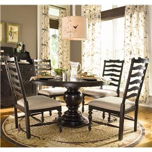 Paula Deen by Universal Home Round Dining Table w/ 4 Ladder Side Chairs