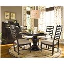 Universal Home Round Dining Table w/ 4 Ladder Back Side Chairs - Shown with Low Country Sideboard and Hutch