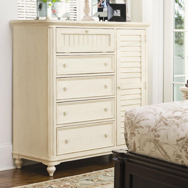 Paula Deen By Universal Paula Deen Home Door Chest With Louvered Door And Clothing Rod Reeds