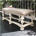 Universal Home Bed End Bench with Upholstered Seat and Turned Legs