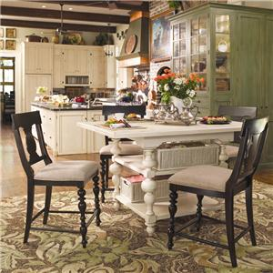 Paula Deen by Universal Home Gathering Table Set w/ 4 Counter Chairs