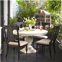 Paula Deen by Universal Paula Deen Home Round Dining Table w/ 4 Splat Back Dining Side Chairs