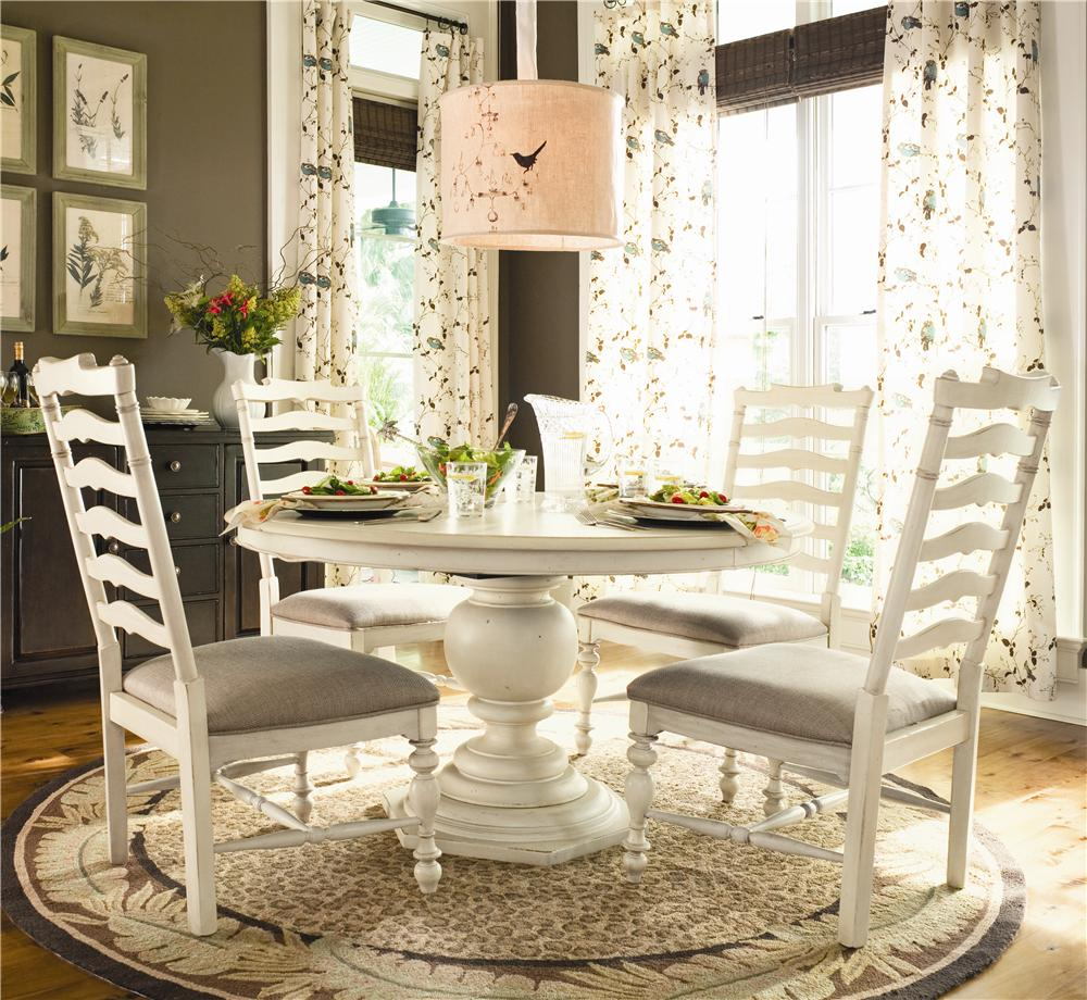 Universal Home Round Dining Table w/ 4 Ladder Side Chairs - Item Number: 996655-BASE+TAB+4x996634