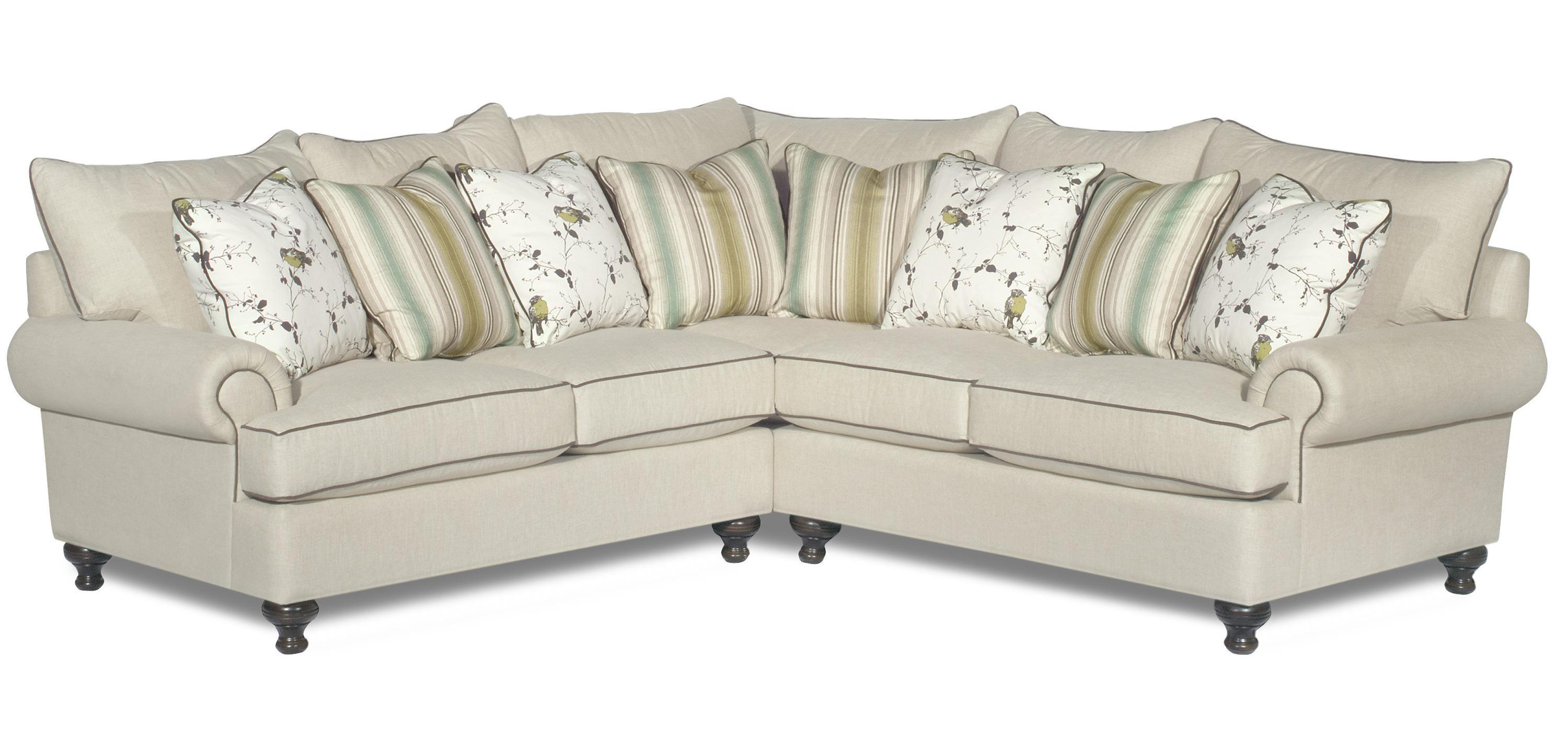 Paula Deen By Craftmaster P711700 2 Piece Sectional Sofa With Rolled Arms And Turned Feet Sprintz Furniture Sectional Sofas