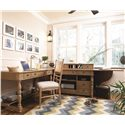 Universal Down Home Side Chair with Panel Back - Shown with Working Desk and Drop Leaf Office Cabinet