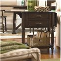 Paula Deen by Universal Down Home Drop Leaf End Table with 2 Drawers - Shown with Drop Leaf Up