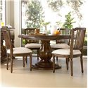 Universal River House 5 Piece Dining Set with Round Pedestal Table and Pull-Up Side Chairs