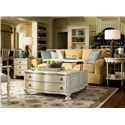 Morris Home Furnishings Riverside The Family Room Table with Serpentine Shaping - Shown with Lift Top Elevated and Chairside Table and Bobbin Side Table