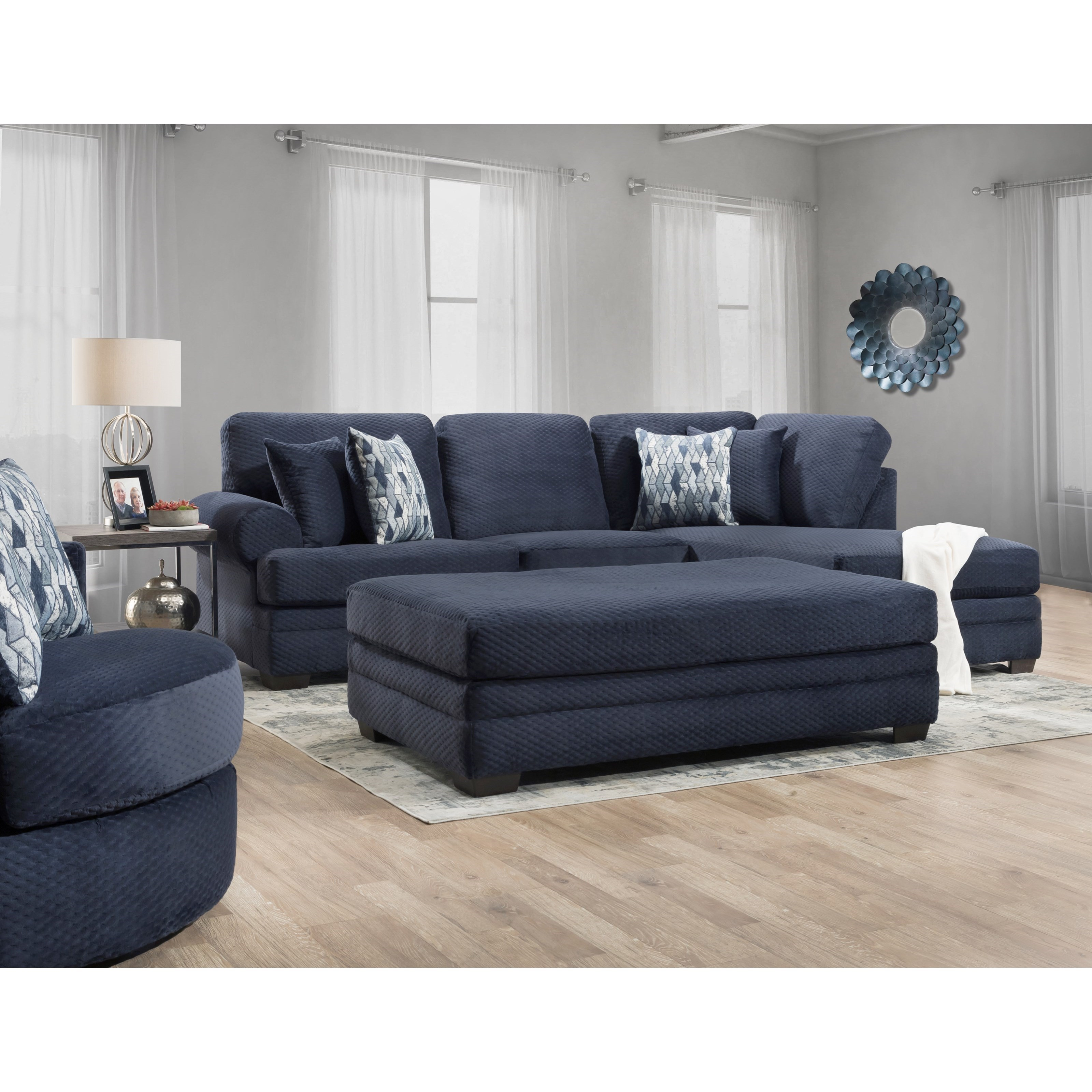 Three Seat Sectional with Rounded Arms