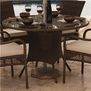 Pelican Reef Barbados  Round Woven Dining Table w/ Glass