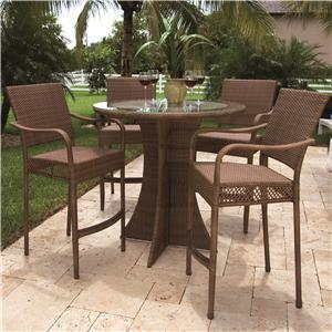 Pelican Reef Barbados  Pub Table w/ Glass & Arm Barstool Set