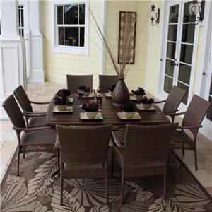 Pelican Reef Barbados  Slatted Rect Table & 8 Arm Chair Set