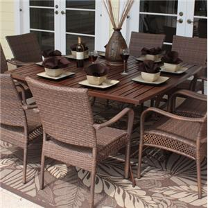 Pelican Reef Barbados  Slatted Rect Table w/ Umb Hole