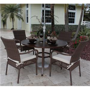 Pelican Reef Barbados  Slatted Dining Table & Arm Chair Set