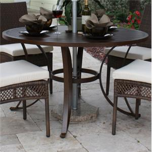 Pelican Reef Barbados  Round Slatted Dining Table w/ Hole