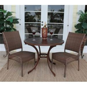 Pelican Reef Barbados  Round Slatted Bistro Table & Arm Chair Set