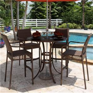 Pelican Reef Barbados  Slatted Pub Table & Arm Barstool Set