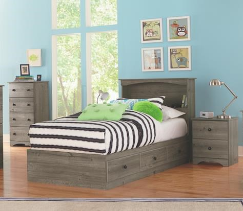 5 Piece Twin Storage and Bookcase Headboard