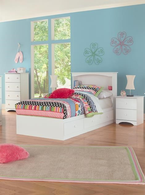 Twin Bookcase Headboard with Storage Base