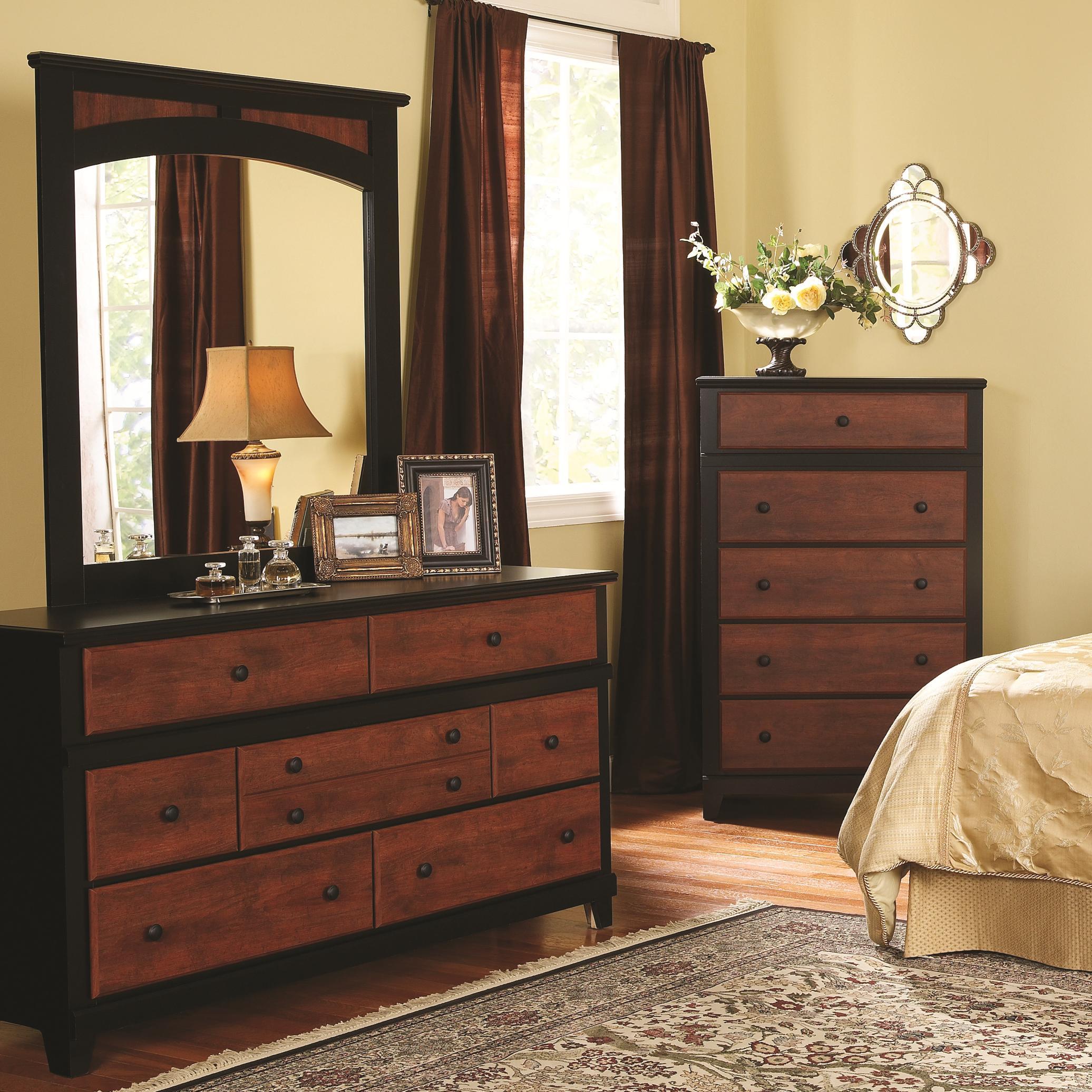 7-Drawer Dresser & Landscape Mirror