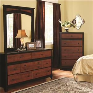 Perdue 49000 Series 7-Drawer Dresser & Landscape Mirror