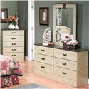 Perdue Sicilian Marble 6-Drawer Dresser & Mirror Set - Item Number: 6586+020